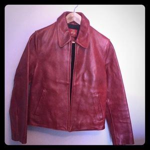 Red leather coat by Gap size small